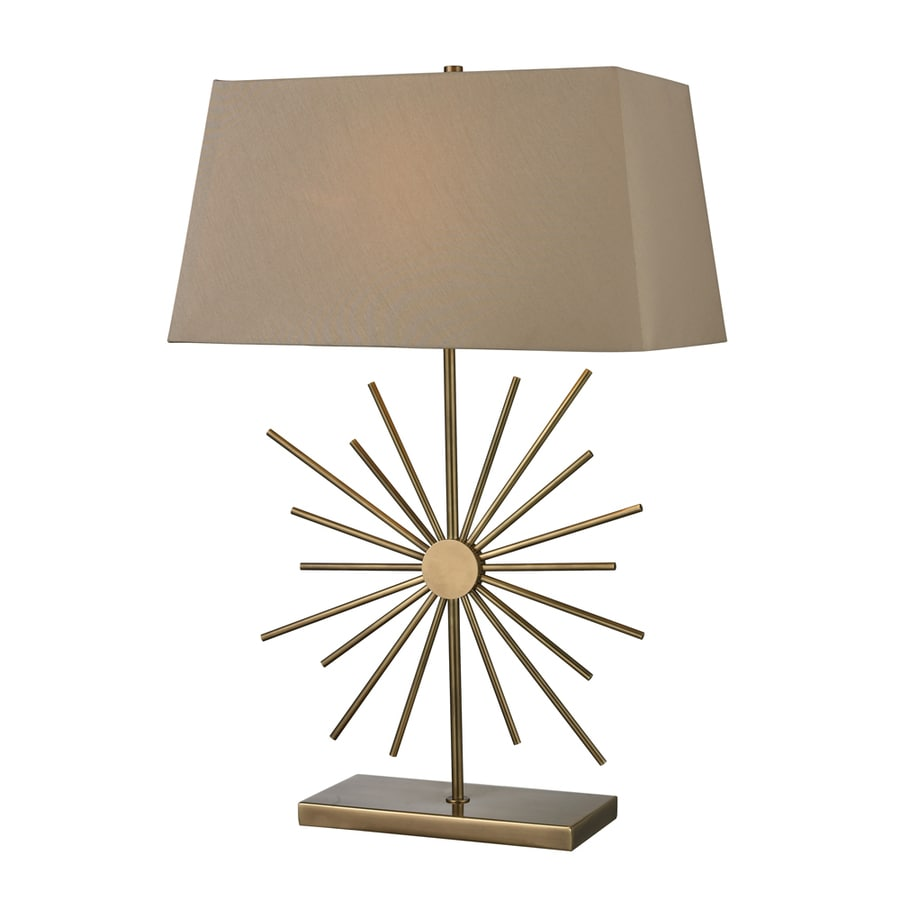 Westmore Lighting Solamere 20-in Antique Brass Standard 3-Way Switch Table Lamp with Fabric Shade