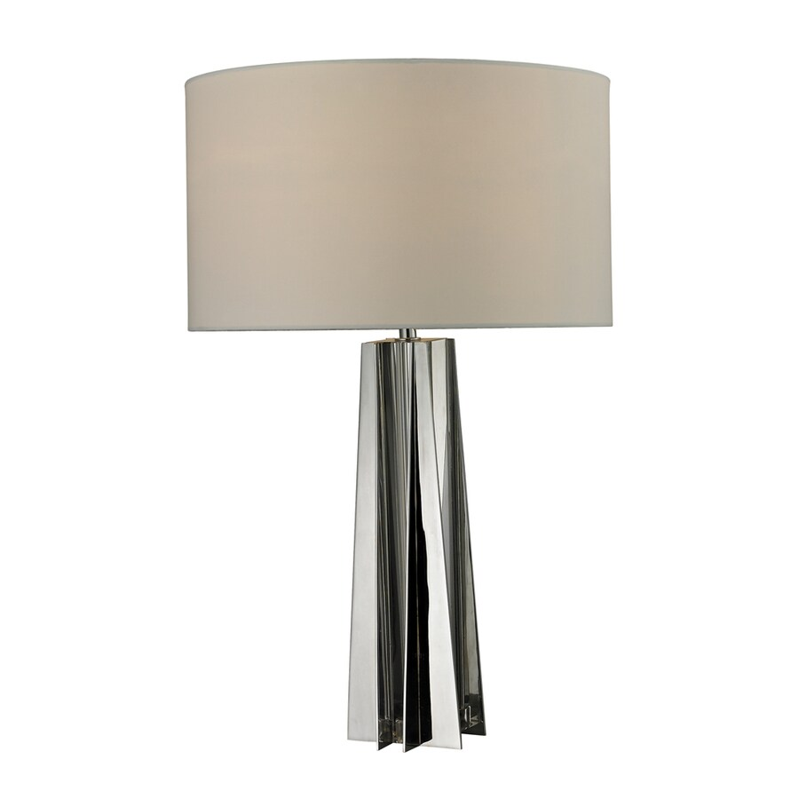 Westmore Lighting Clover Mill 16-in Clear Crystal and Chrome Indoor Table Lamp with Fabric Shade