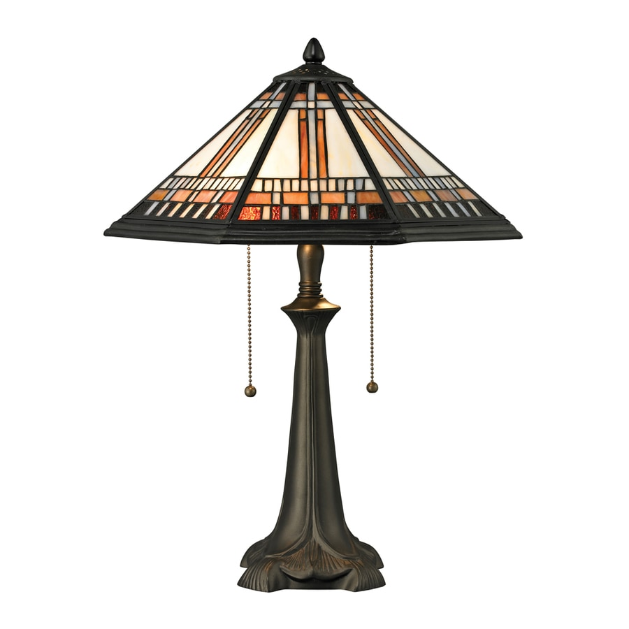 Westmore Lighting Farmington 17-in Tiffany Bronze Standard Table Lamp with Glass Shade