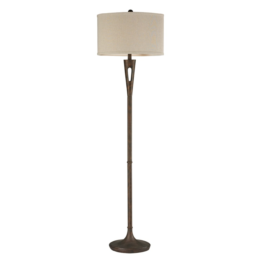Westmore Lighting Ardmore Glen 65-in Burnished Bronze 3-Way Floor Lamp with Fabric Shade