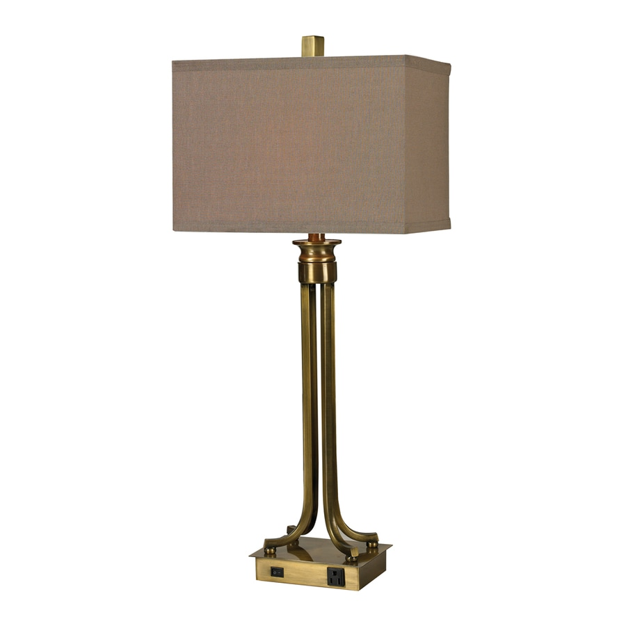 Westmore Lighting Vanway 15-in Antique Brass Indoor Table Lamp with Fabric Shade