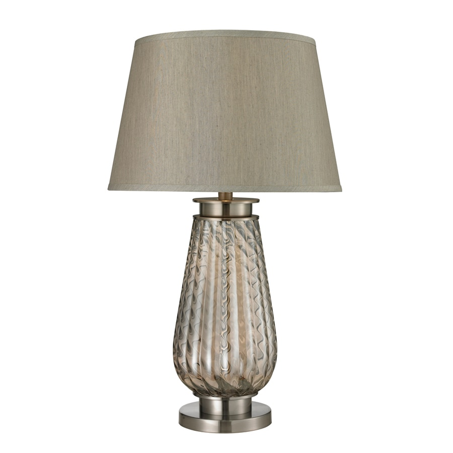 Westmore Lighting Reedwood 30-in Smoked Glass and Brushed Steel 3-Way Table Lamp with Fabric Shade