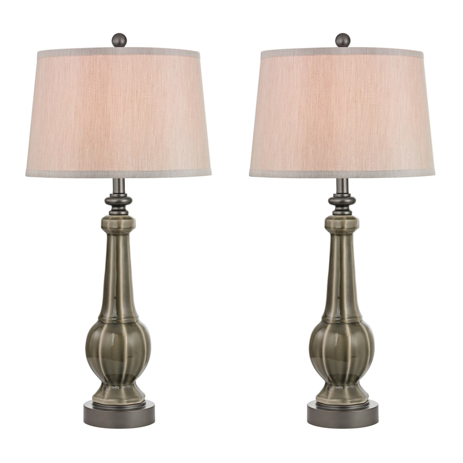 Westmore Lighting Lansville 31.3-in Grey Glaze 3-Way Table Lamp with Fabric Shade