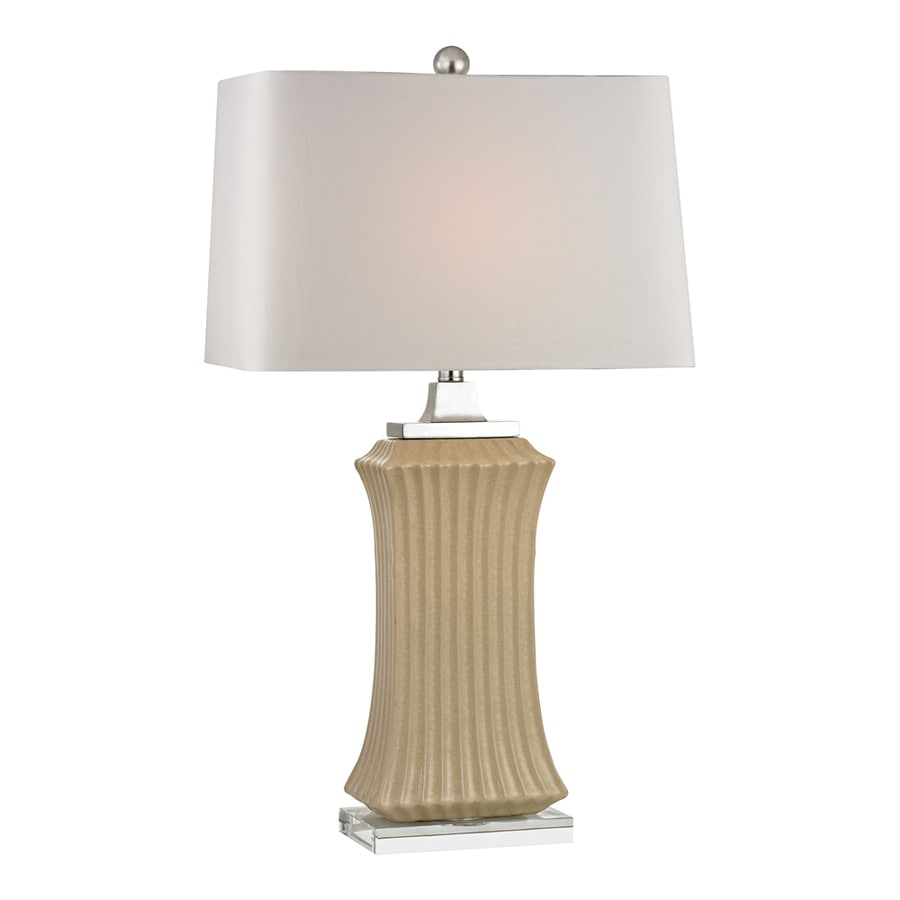 Westmore Lighting Cottrell 35-in 3-Way Crystal and Cream Crackle Indoor Table Lamp with Fabric Shade