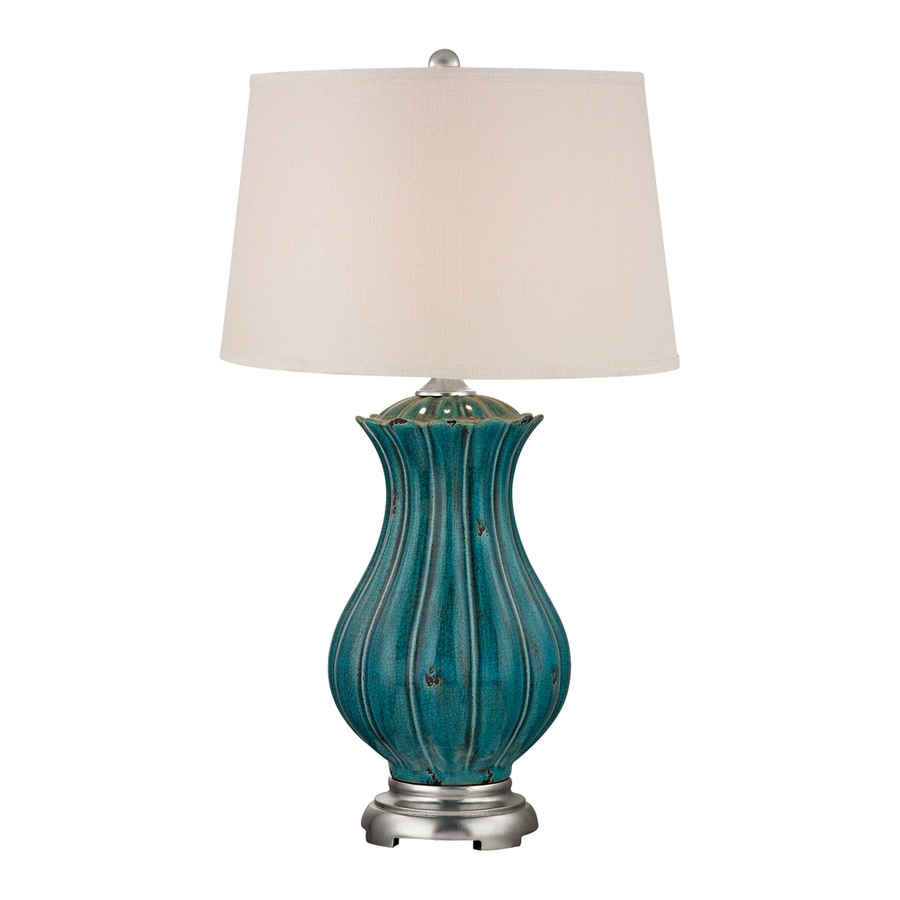 Westmore Lighting Ester Hollow 35-in 3-Way Distressed Dark Teal Indoor Table Lamp with Fabric Shade