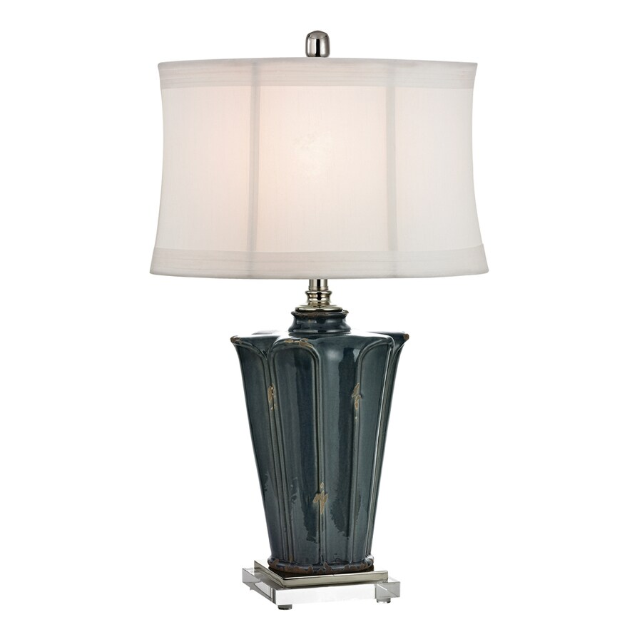 Westmore Lighting Gulla 28.3-in Blue Glaze and Crystal Standard 3-Way Switch Table Lamp with Fabric Shade