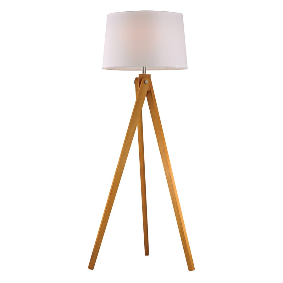Westmore Lighting Keevins 62.5-in Natural Wood Tone Casual/Transitional Shaded Floor Lamp Indoor Floor Lamp with Fabric Shade