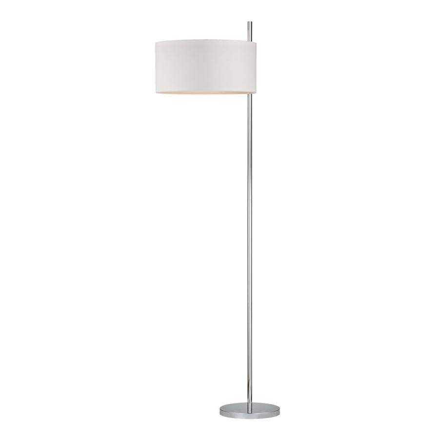 Westmore Lighting Putnam Hill 64-in Polished Nickel Modern Shaded Floor Lamp Floor Lamp with Fabric Shade