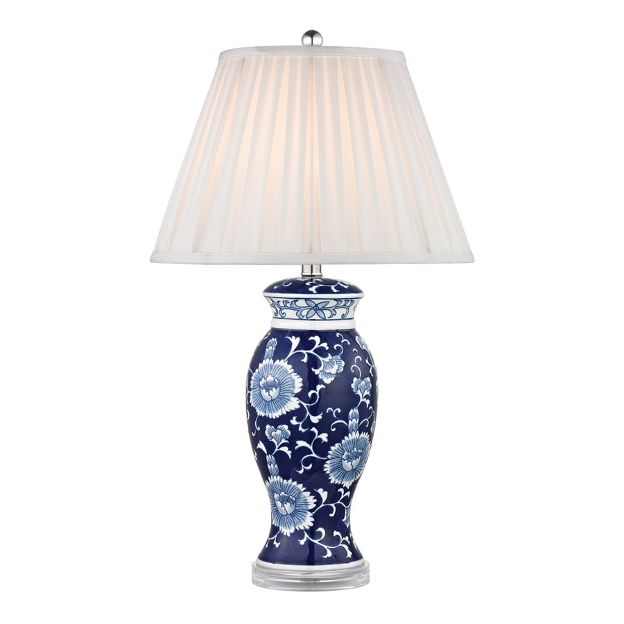 Westmore Lighting Hemlock 28-in Blue and White Standard 3-Way Switch Table Lamp with Fabric Shade