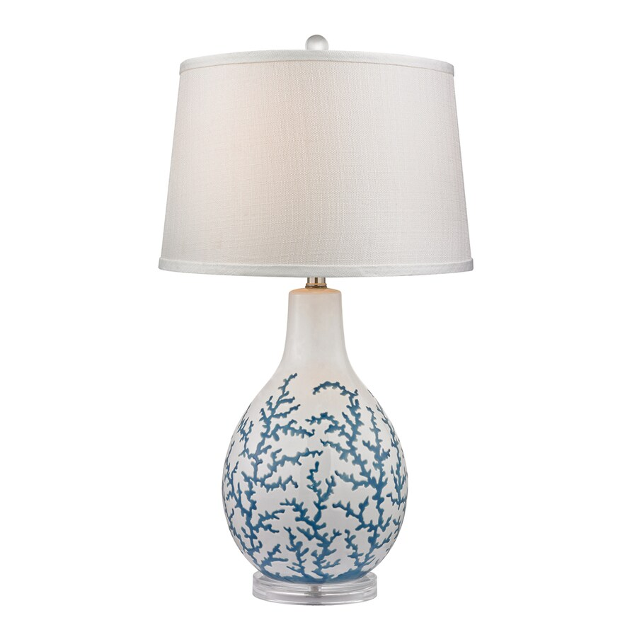 Westmore Lighting Wynnewood 27-in Pale Blue Coral and White Standard 3-Way Switch Table Lamp with Fabric Shade