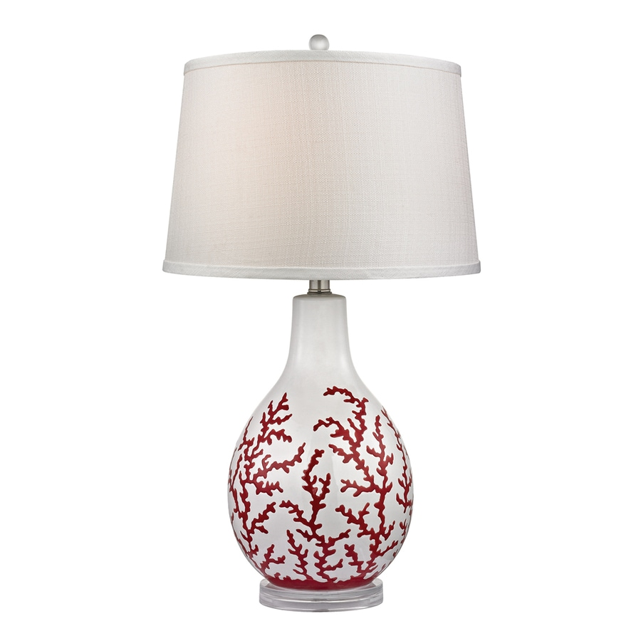 Westmore Lighting Wynnewood 27-in 3-Way Red Coral and White Indoor Table Lamp with Fabric Shade