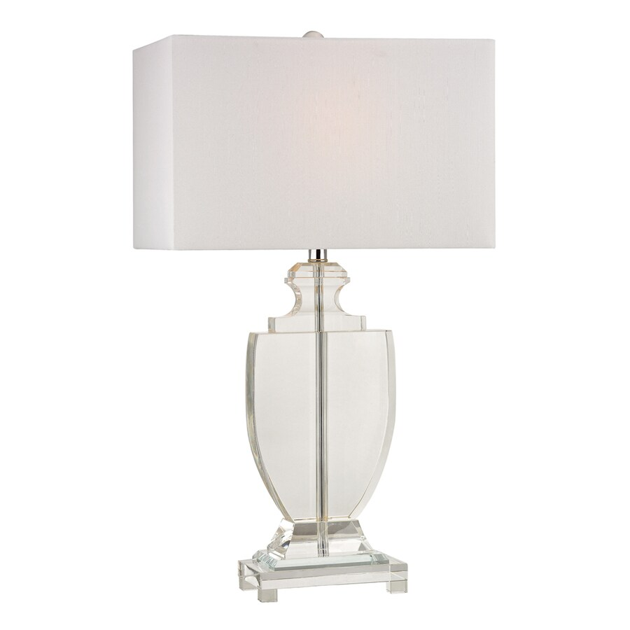 Westmore Lighting Boothwyn 26-in Clear Indoor Table Lamp with Fabric Shade