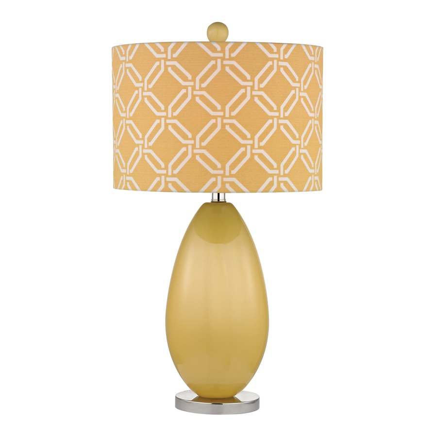 Westmore Lighting Beaver Meadows 25-in Sunshine Yellow and Polished Nickel Indoor Table Lamp with Fabric Shade