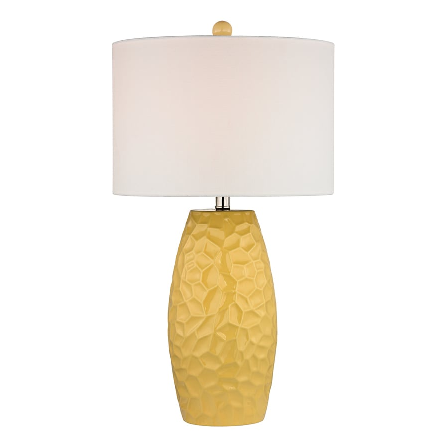 Westmore Lighting Treskow 27-in 3-Way Sunshine Yellow Indoor Table Lamp with Fabric Shade