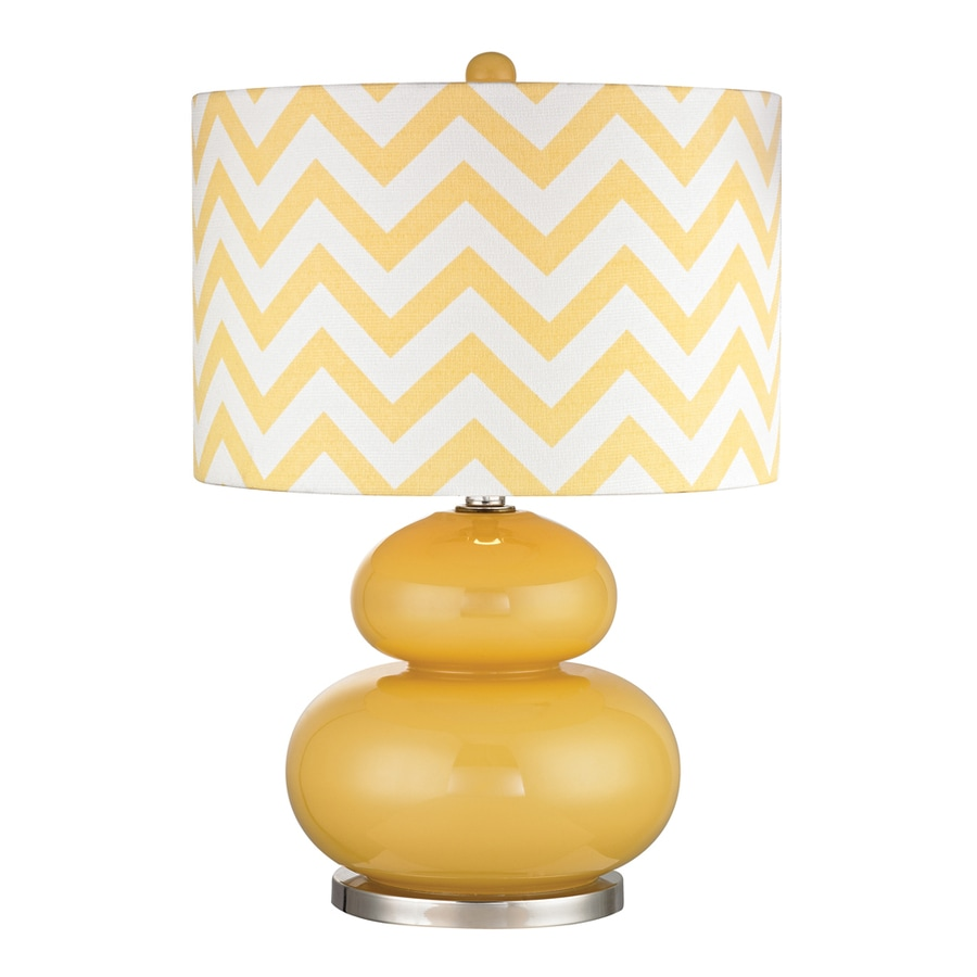 Westmore Lighting Port Carbon 24-in 3-Way Sunshine Yellow and Polished Nickel Indoor Table Lamp with Fabric Shade