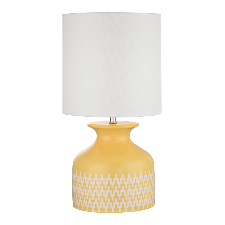 Westmore Lighting Seemsville 20-in Sunshine Yellow and White Indoor Table Lamp with Fabric Shade