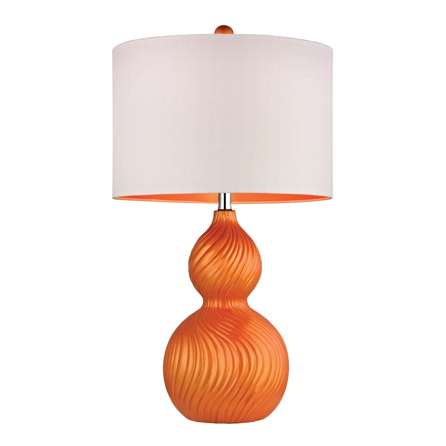 Westmore Lighting Valeria 26-in 3-Way Tangerine Swirl Indoor Table Lamp with Fabric Shade