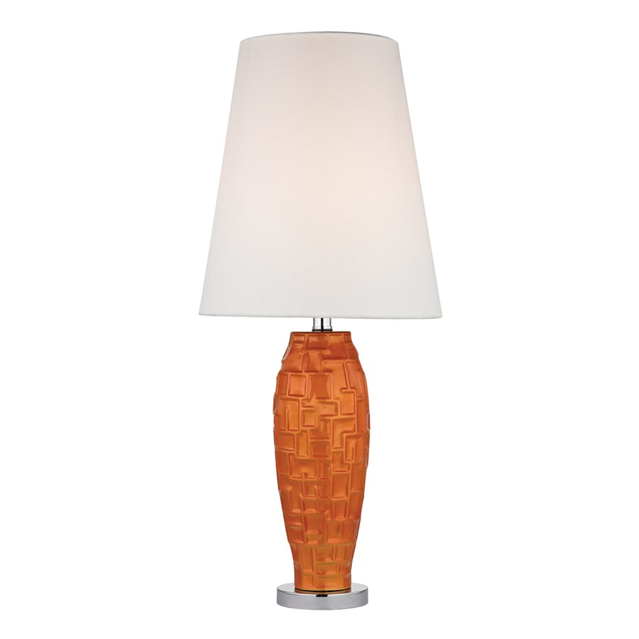 Westmore Lighting Camlet 27-in 3-Way Tangerine Orange Indoor Table Lamp with Fabric Shade