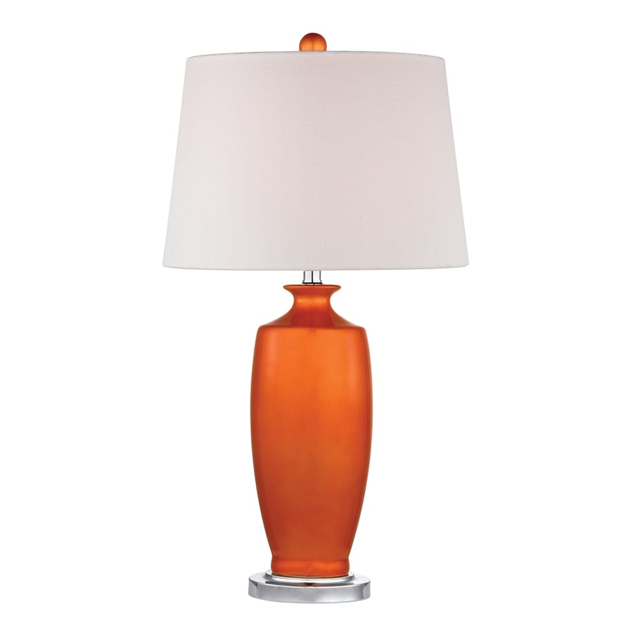 Westmore Lighting Mordigan 27-in Tangerine Orange and Polished Nickel Standard 3-Way Switch Table Lamp with Fabric Shade