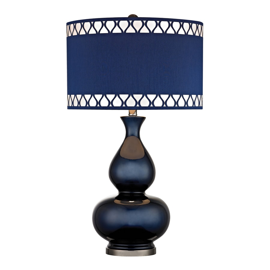 Westmore Lighting Idonia 28-in 3-Way Navy Blue and Black Nickel Indoor Table Lamp with Fabric Shade