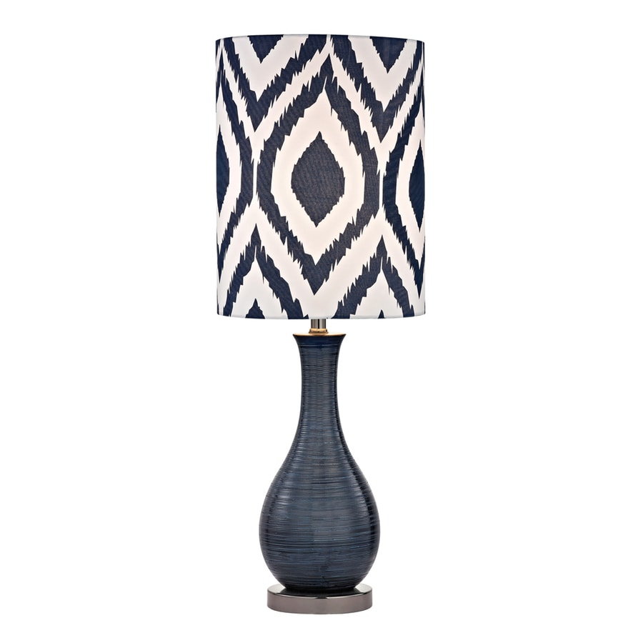Westmore Lighting Mornsboro 24-in Navy Blue and Black Nickel Standard Table Lamp with Fabric Shade