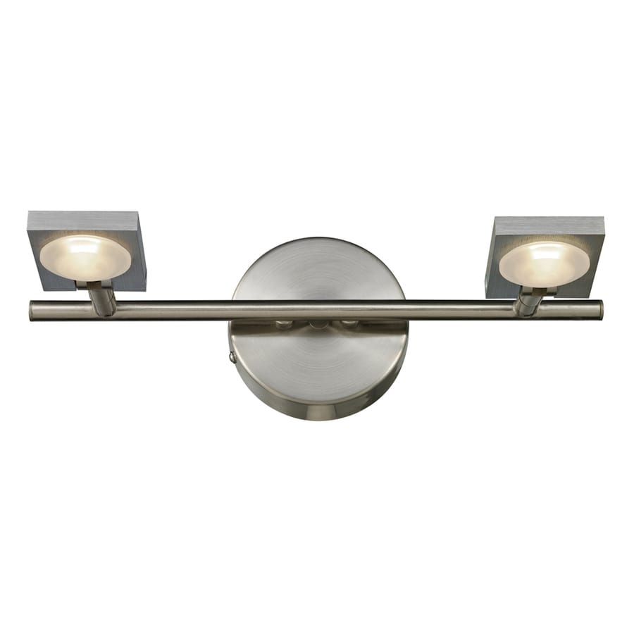 Westmore Lighting Calistoga 2-Light 5-in Brushed Nickel/Brushed Aluminum Square LED Vanity Light