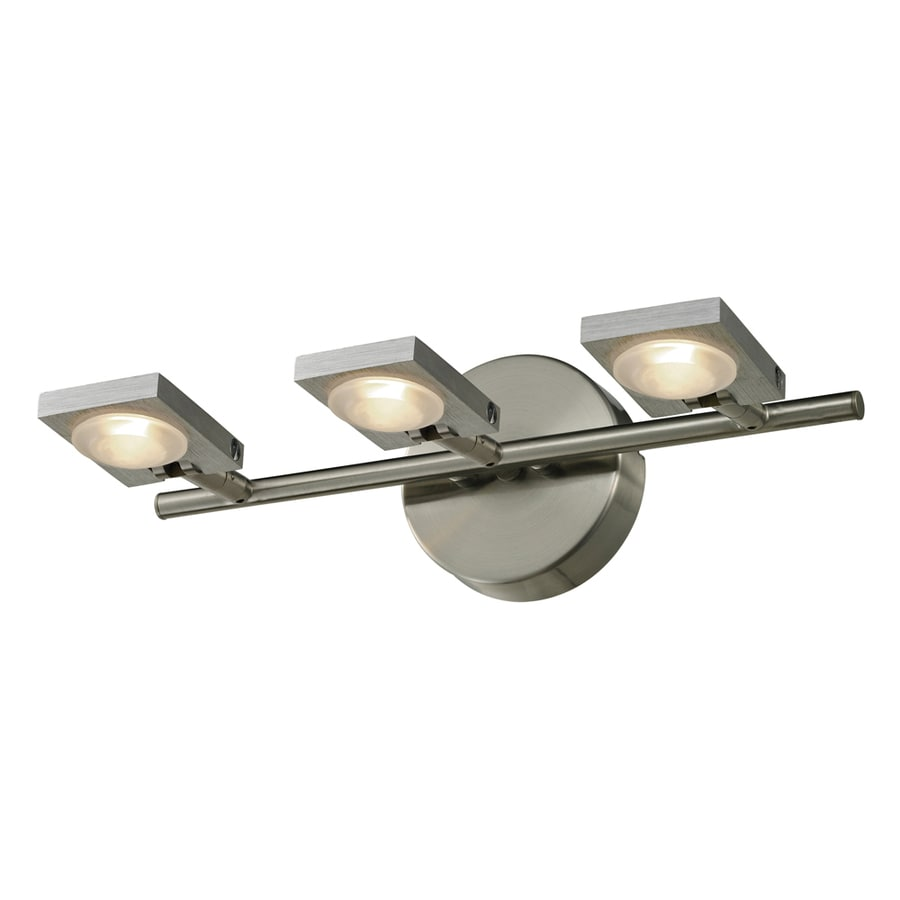 Westmore Lighting Calistoga 3-Light 5-in Brushed Nickel and Brushed Aluminum Square LED Vanity Light