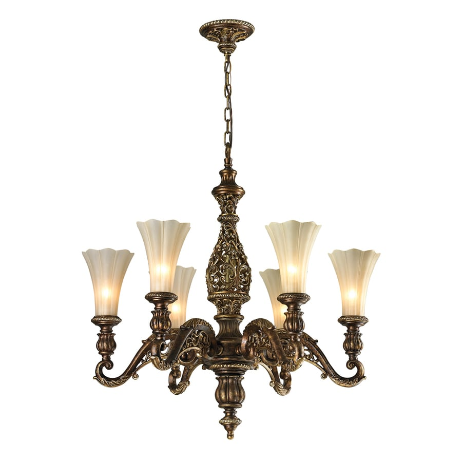 Westmore Lighting Catalina 30-in 6-Light Burnt Bronze/Weathered Gold Leaf Tinted Glass Shaded Chandelier