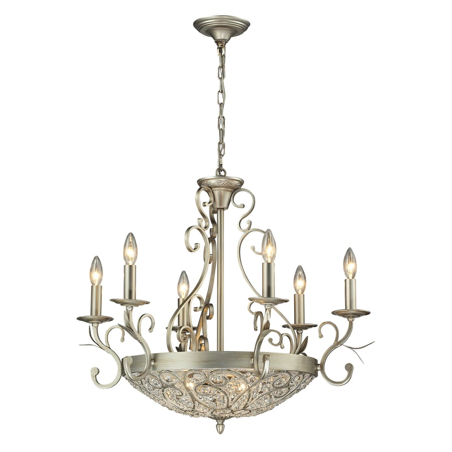 Westmore Lighting Tottenham 28-in 9-Light Aged Silver Crystal Candle Chandelier