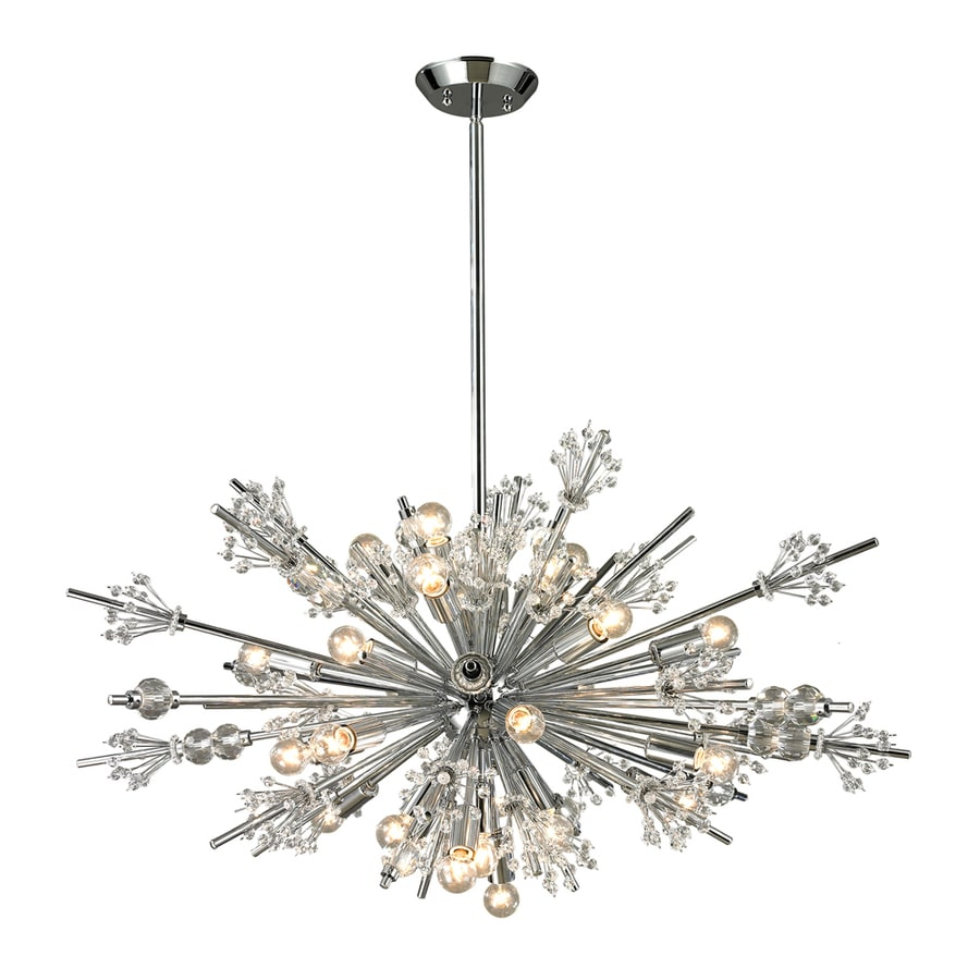 Westmore Lighting Gamma 20-in 17-Light Polished Chrome Crystal Abstract Chandelier