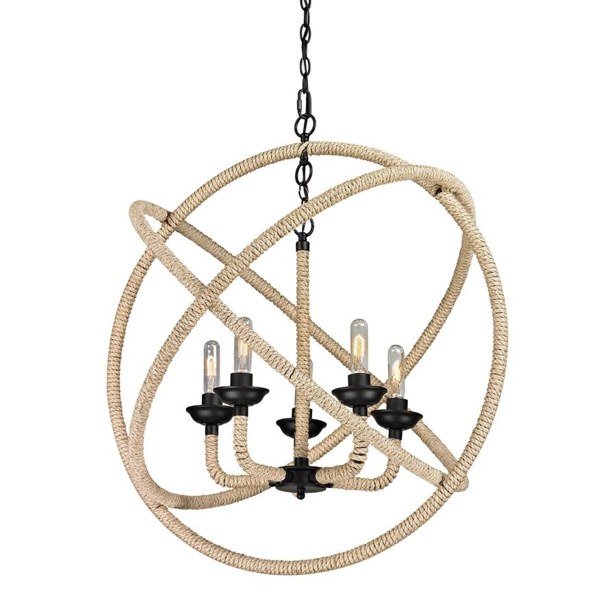 Westmore Lighting Kennicut 17-in 5-Light Matte Black Globe Chandelier