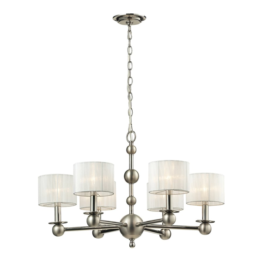 Westmore Lighting Stasis 29-in 6-Light Polished Nickel/Matte Nickel Shaded Chandelier