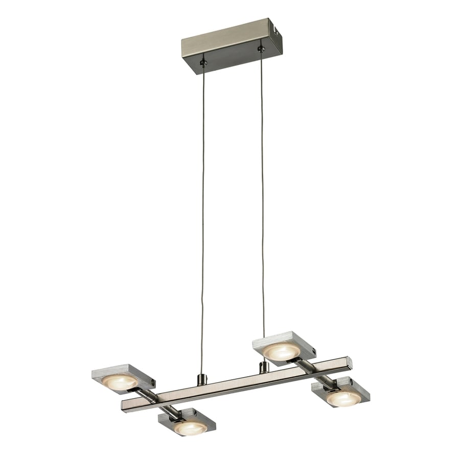 Westmore Lighting Calistoga 14-in 4-Light Brushed Nickel/Brushed Aluminum Abstract Mini LED Chandelier