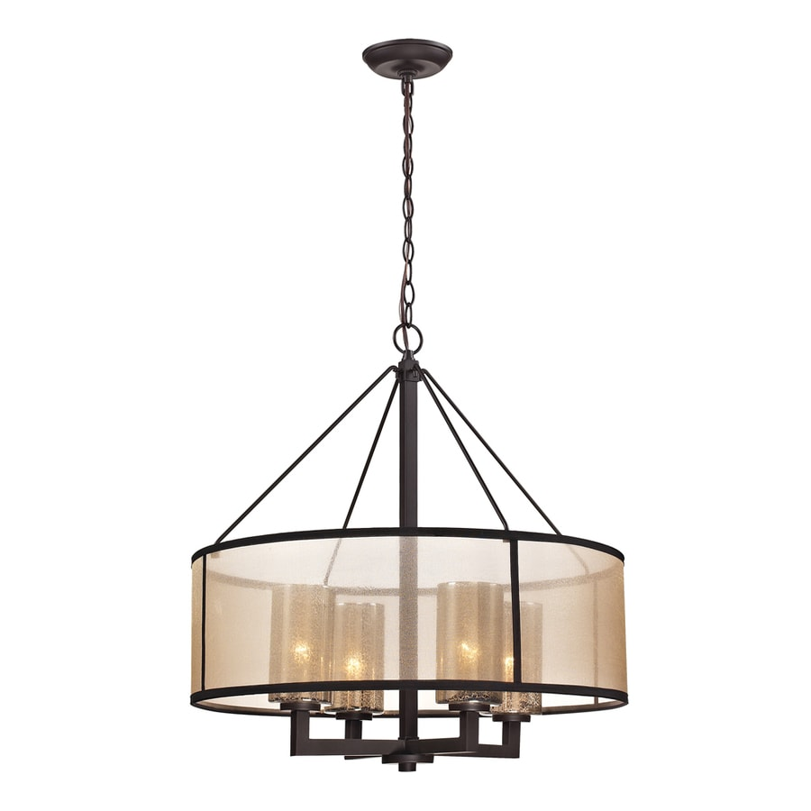 Shop westmore lighting sandbar 24 in 4 light oil rubbed bronze drum chandelier at - Chandelier ceiling lamp ...