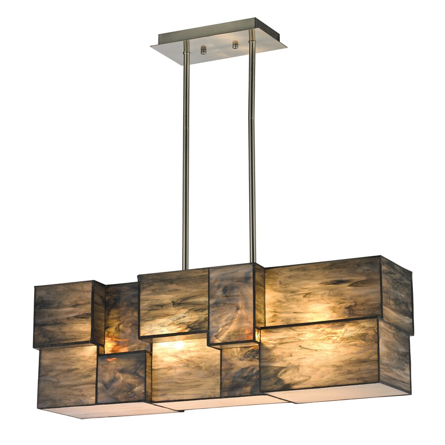 Shop westmore lighting tectonicus 27 in 4 light brushed nickel westmore lighting tectonicus 27 in 4 light brushed nickel tinted glass linear mini chandelier arubaitofo Choice Image
