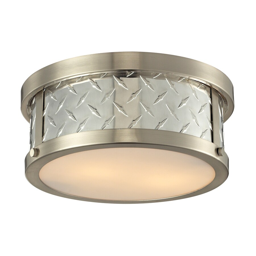 Westmore Lighting Protocol 12-in W Brushed Nickel Flush Mount Light