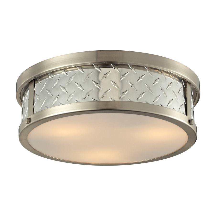 Westmore Lighting Protocol 16-in W Brushed Nickel Flush Mount Light