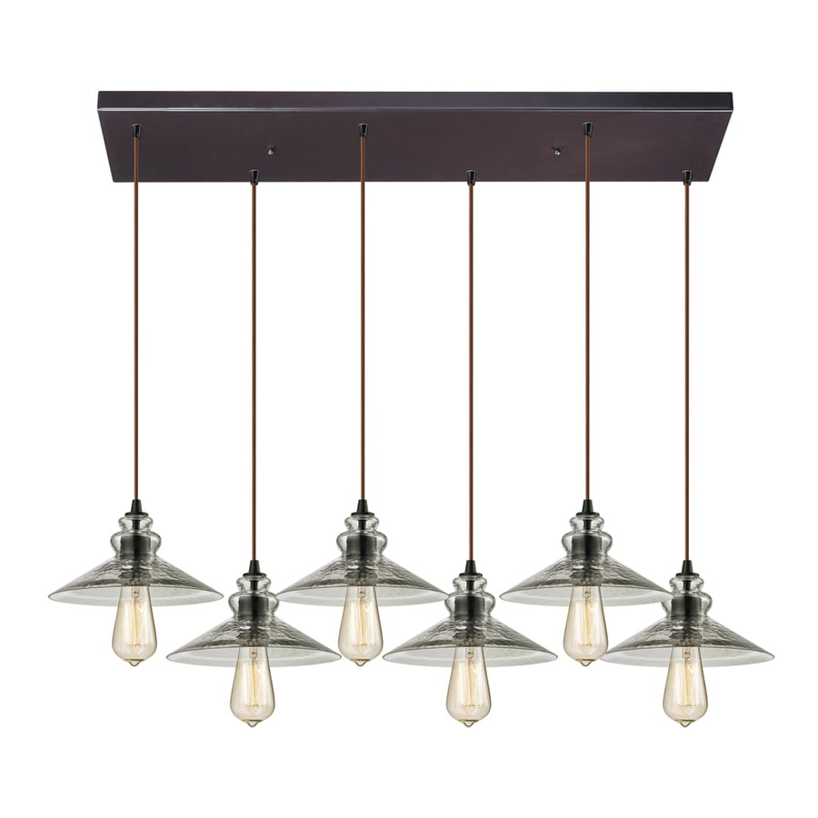Westmore Lighting Glassmith 10-in Oil Rubbed Bronze Vintage Mini Clear Glass Cone Pendant