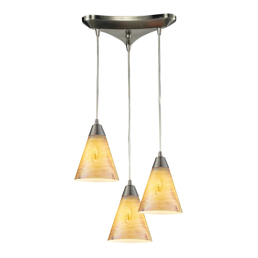 Westmore Lighting Cambria 10-in Satin Nickel Mini Tinted Glass Cone Pendant