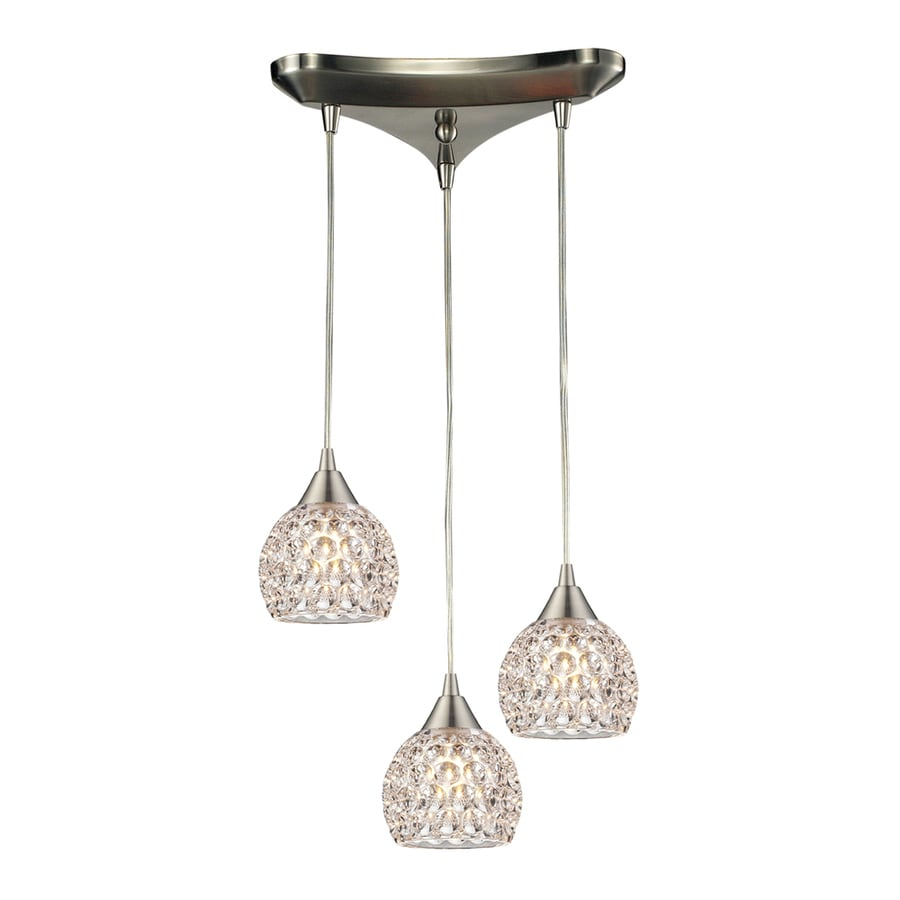 Westmore Lighting Saratoga Springs 10-in Satin Nickel Crystal Mini Crystal Acorn Pendant