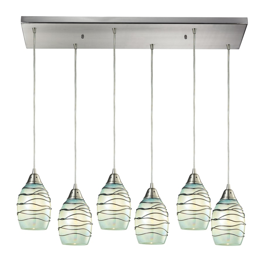 Westmore Lighting Tendril 10-in Satin Nickel Novelty Mini Textured Glass Teardrop Pendant