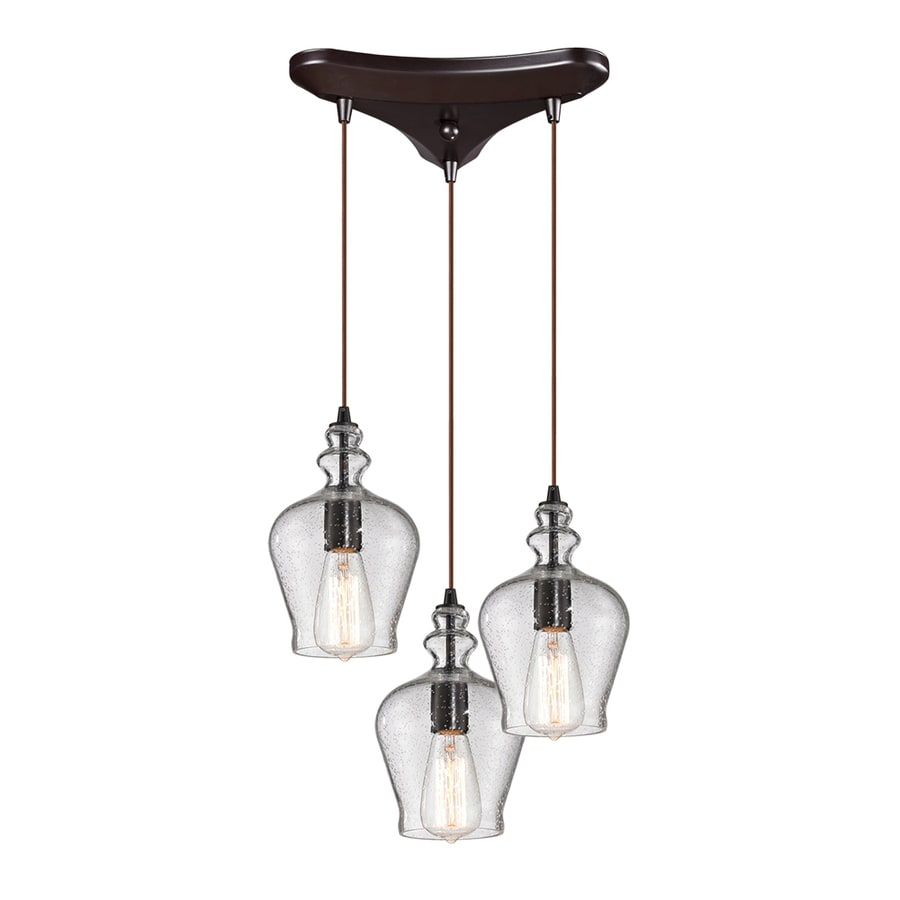 Westmore Lighting Alvingham 10-in Oil Rubbed Bronze Mini Clear Glass Pendant