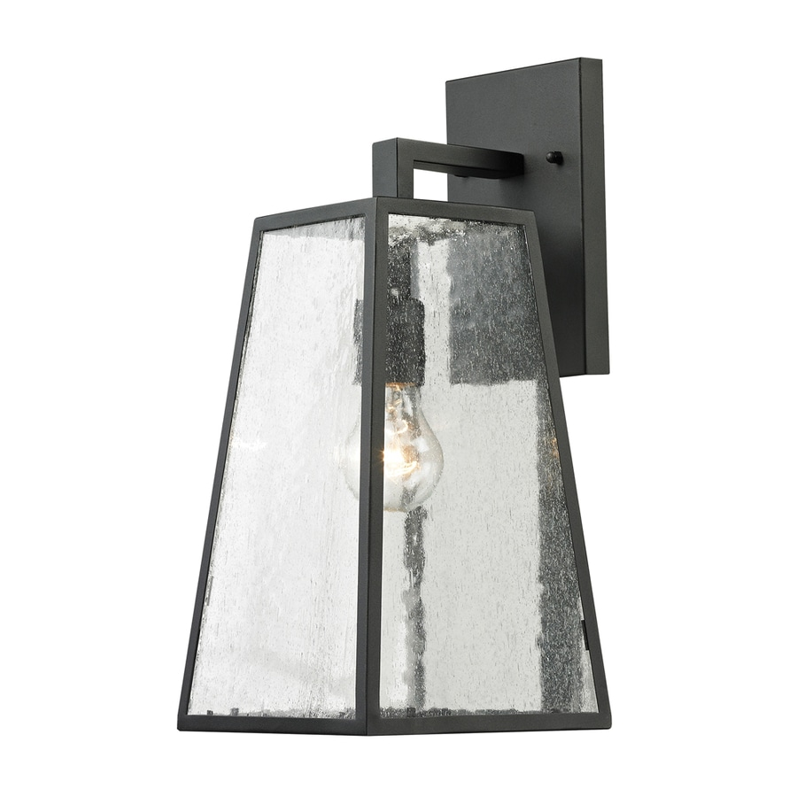 Exterior Wall Sconce Mounting Height : Shop Westmore Lighting Fleetwood 15.5-in H Textured Matte Black Outdoor Wall Light at Lowes.com