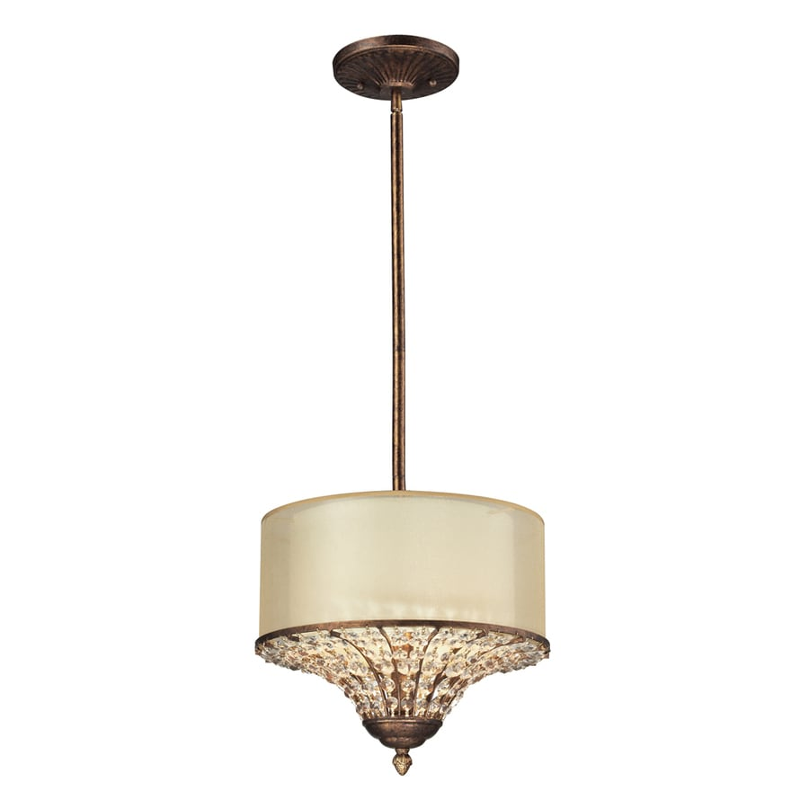 Westmore Lighting Ascott 13-in Spanish Bronze Crystal Single Drum Pendant