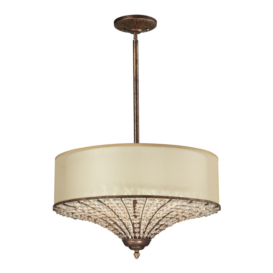 Westmore Lighting Ascott 23-in Spanish Bronze Crystal Single Drum Pendant