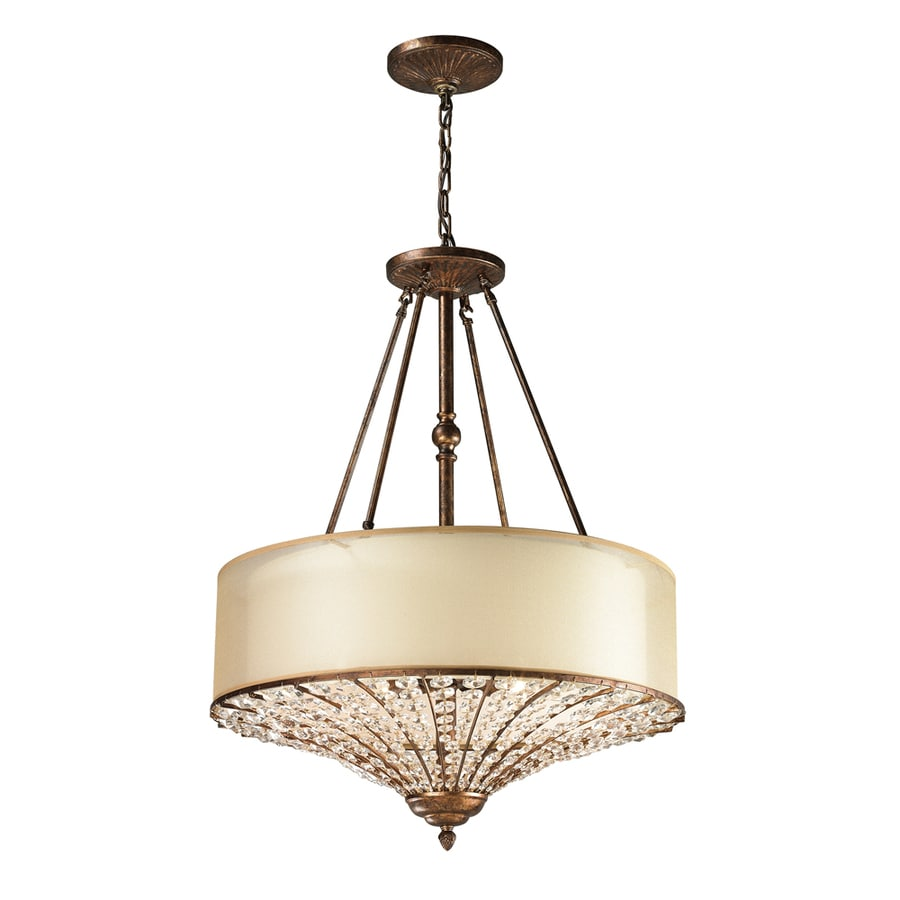 Westmore Lighting Ascott 24-in Spanish Bronze Crystal Single Drum Pendant