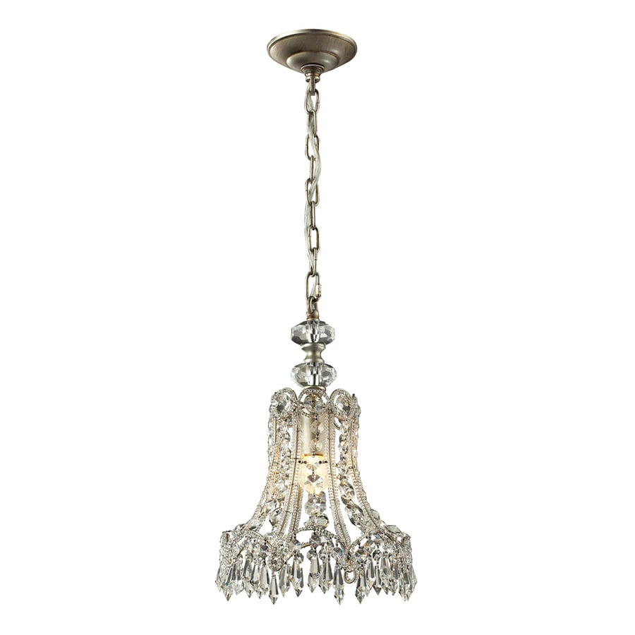 Westmore Lighting Sabra 10-in Aged Silver Crystal Mini Crystal Bell Pendant