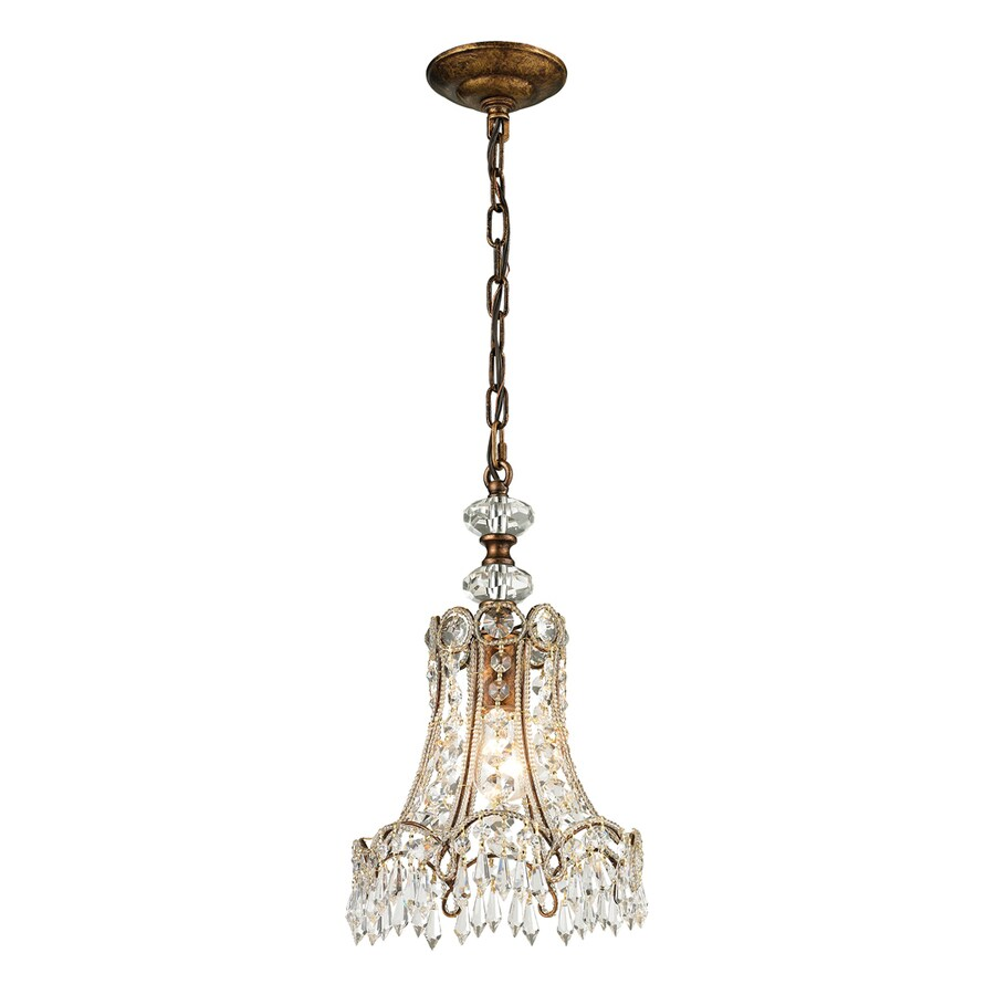 Westmore Lighting Sabra 10-in Spanish Bronze Crystal Mini Crystal Bell Pendant