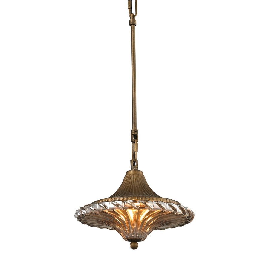 Westmore Lighting Carnivale 10-in Antique Black Mini Ribbed Glass Pendant
