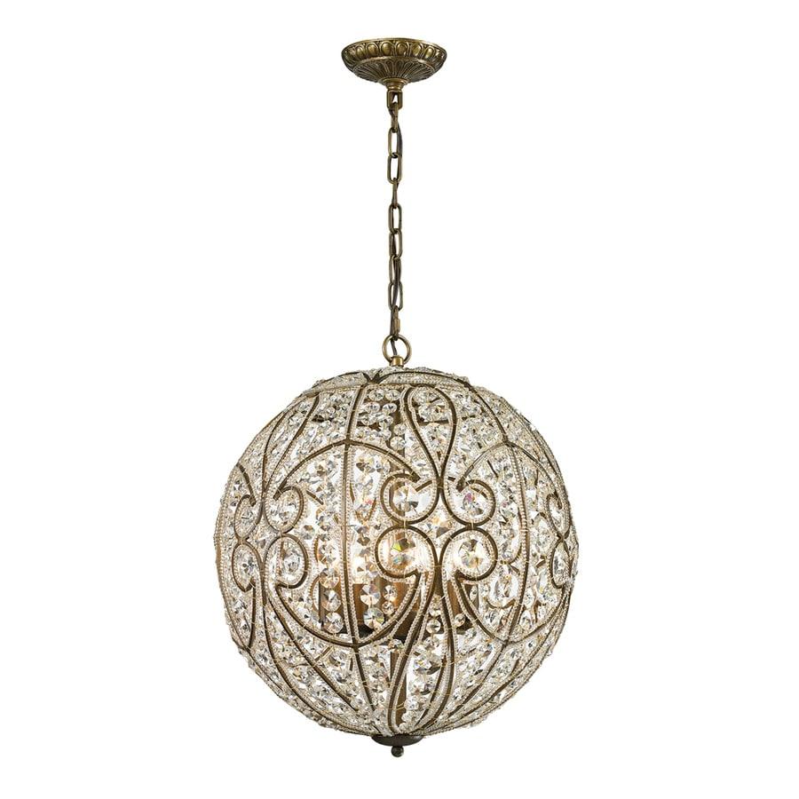 Westmore Lighting Bella 17-in Dark Bronze Crystal Single Crystal Globe Pendant